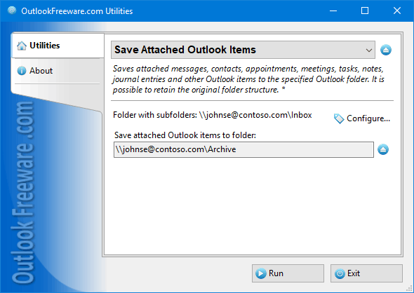 Save Attached Outlook Items Freeware