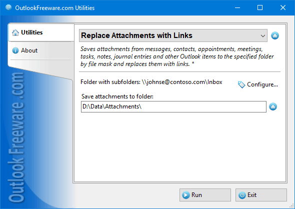 Replaces Outlook attachments with links.