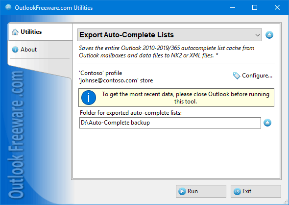 Export Auto-Complete Lists for Outlook 4.9