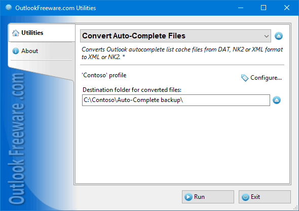 Converts MS Outlook auto-complete cache files