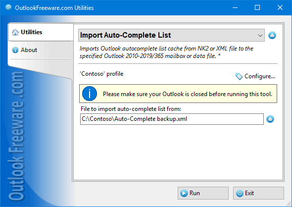 Import Auto-Complete List for Outlook 4.9