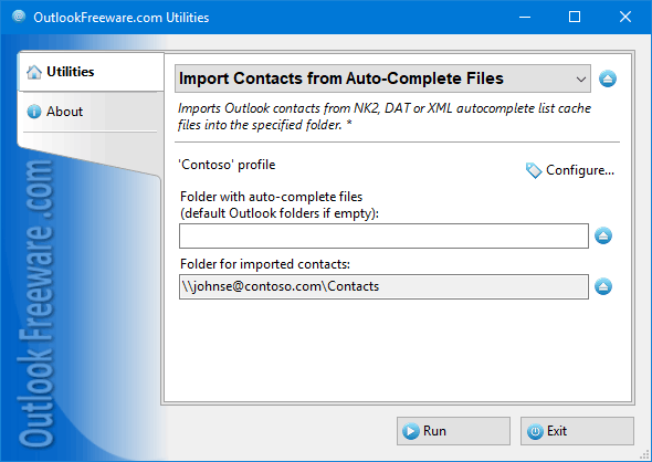 Click to view Import Contacts from Auto-Complete Files 4.9 screenshot