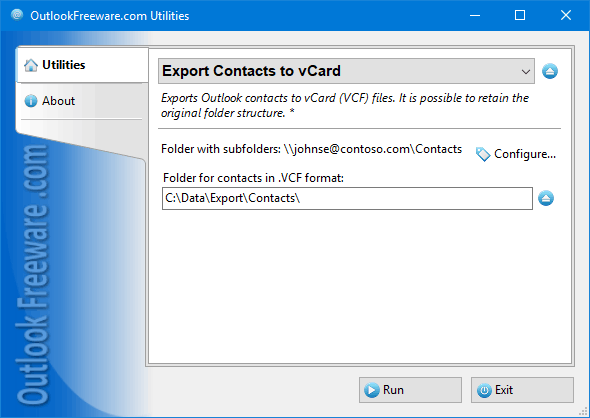 Export Contacts to vCard Screen shot