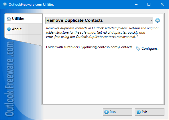 Remove Duplicate Contacts for Outlook screenshot