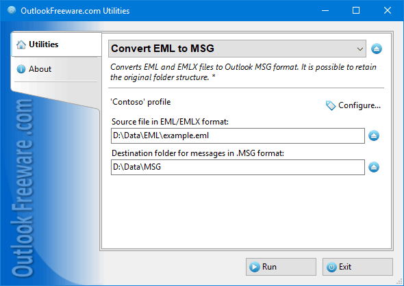 Convert EML Files to Outlook MSG Screen shot
