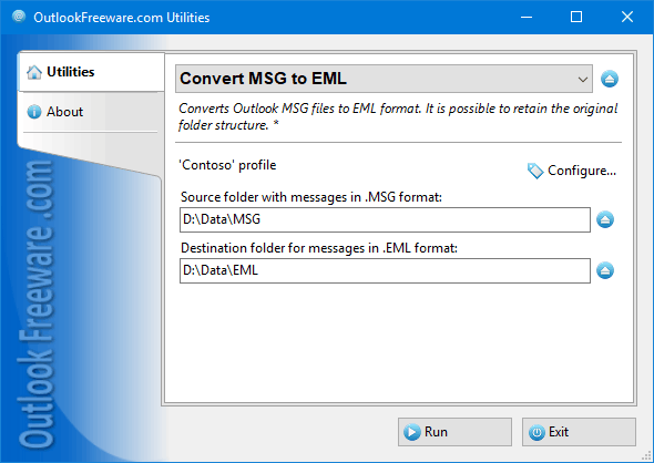 Convert Outlook MSG to EML Files 4.10