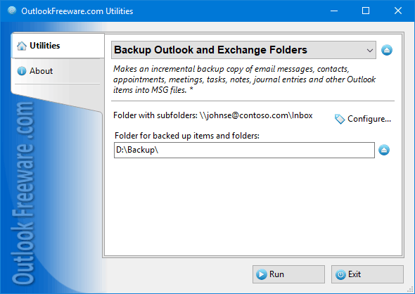 Makes a backup copy of Outlook folders.