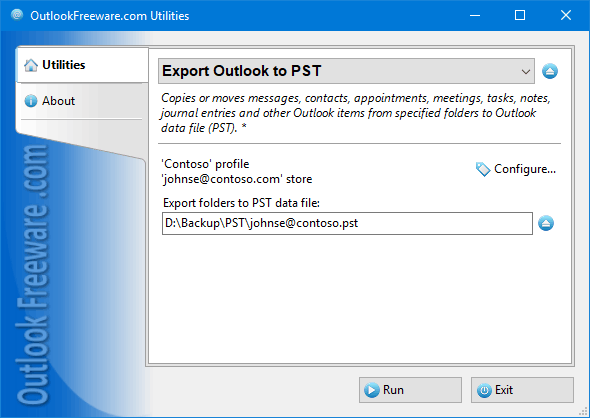 Export Outlook Items to PST File 4.9