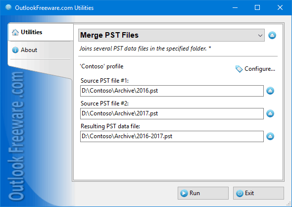 Joins multiple PST data files for Outlook.