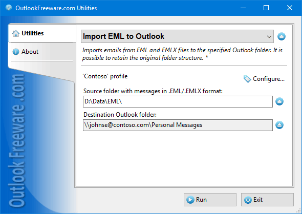 Import Messages from EML Files Screen shot