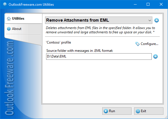Remove Attachments from EML Files full screenshot