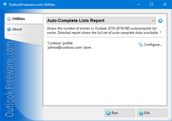 Shows Outlook autocomplete cache entries.