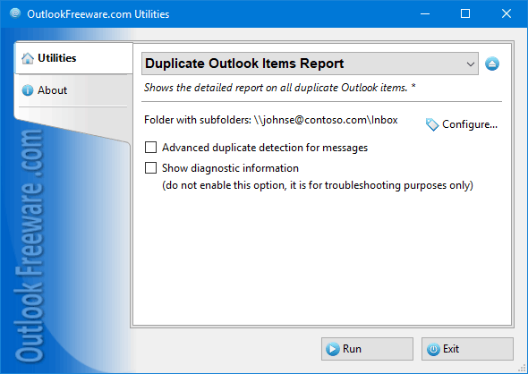 Duplicate Outlook Items Report Screen shot