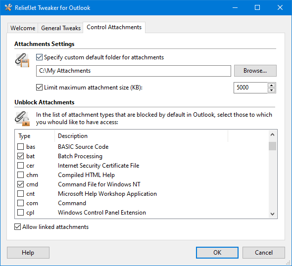 ReliefJet Tweaker for Outlook full screenshot