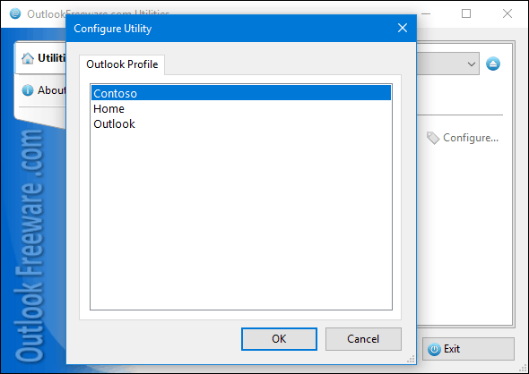 Selecting Outlook profile to run the utility
