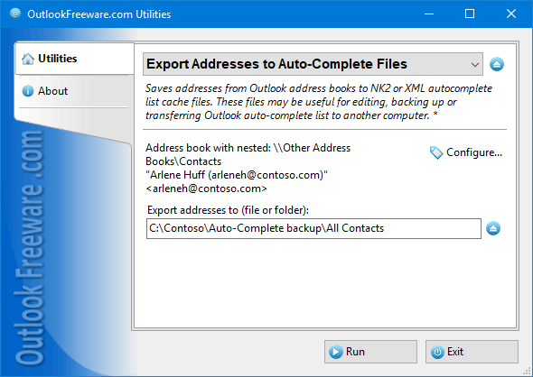 Export Addresses to Auto-Complete Files for Outlook