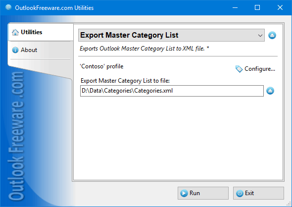 Export Master Category List for Outlook
