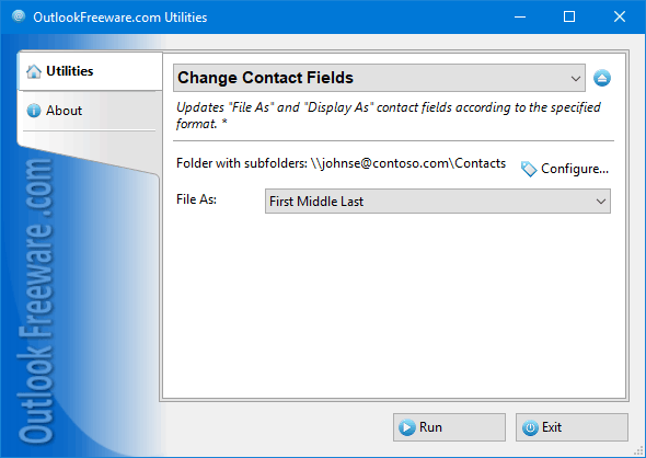 Change Contact Fields for Outlook