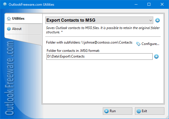 Export Contacts to MSG for Outlook