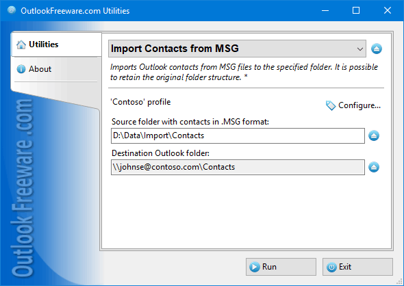 Import Contacts from MSG for Outlook