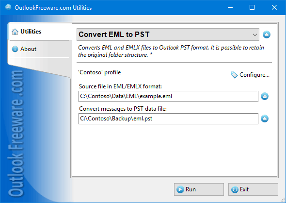 Settings of the 'Convert EML to PST' utility