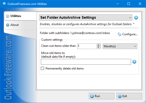 Set Folder AutoArchive Settings for Outlook