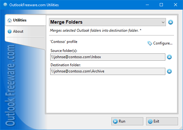 Settings of the 'Merge Folders' utility