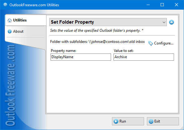 Set Folder Property for Outlook