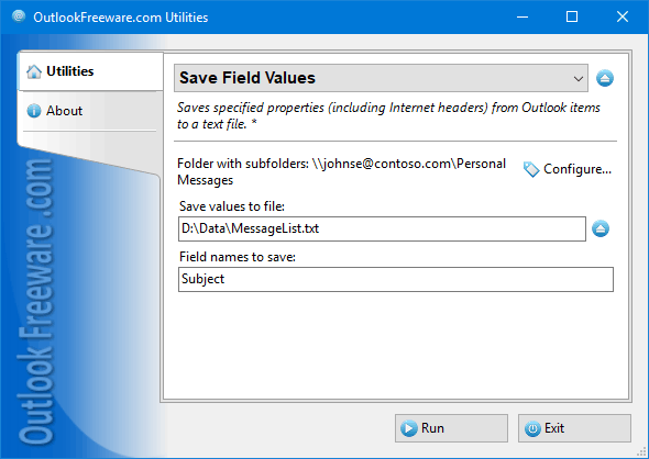 Save Field Values for Outlook