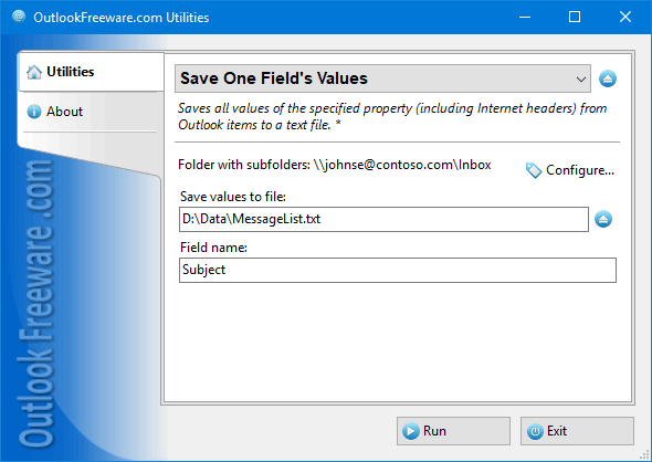 Save One Field's Values for Outlook