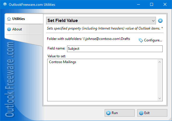 Set Field Value for Outlook