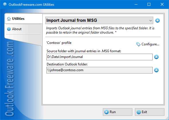 Import Journal from MSG for Outlook