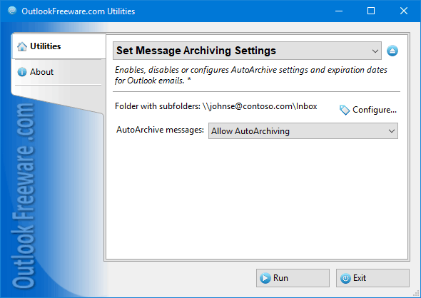 Set Message Archiving Settings for Outlook