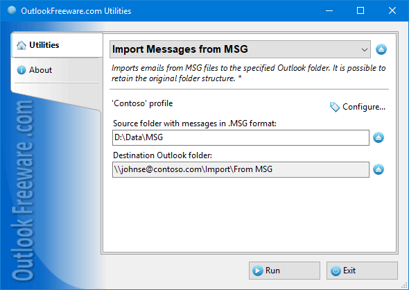 Import Messages from MSG for Outlook