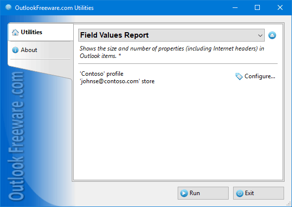 Field Values Report for Outlook