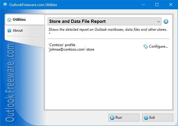 Store and Data File Report for Outlook