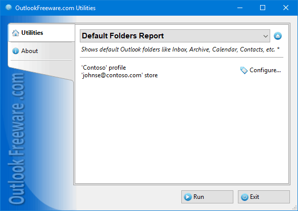Default Folders Report for Outlook