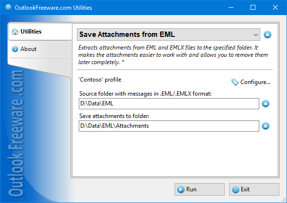 Settings of the 'Save Attachments from EML' utility
