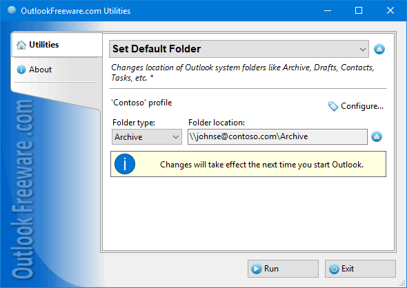 Set Default Folder for Outlook