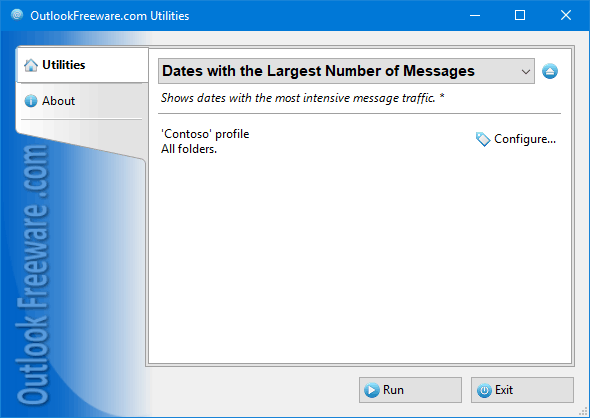 Dates with the Largest Number of Messages for Outlook