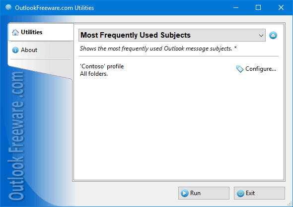 Most Frequently Used Subjects for Outlook
