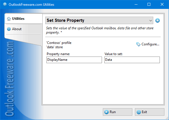 Set Store Property for Outlook